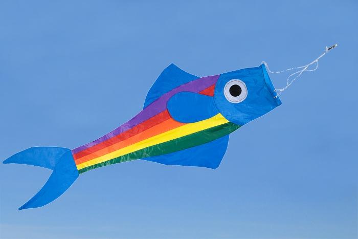 Windsack Fisch blau